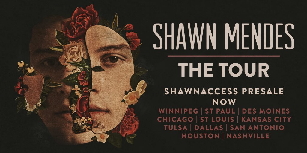 ShawnAccess presale for #ShawnMendesTheTour starts now for Central time cities! https://t.co/kydnQesN8d https://t.co/tRvCWAdWbz
