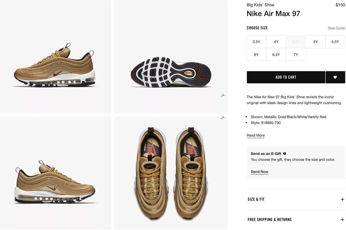 Nike Air Max 97 OG 'Metallic Gold