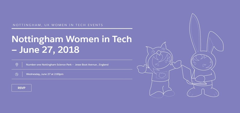 Come along to the Nottingham Salesforce Women in Tech event | 27th June 2018  https:// hubs.ly/H0c6_Mq0  &nbsp;   #WomeninTech #TechStudents #CareersInTech #NTUTech #TechNottingham #UniversityOfNottingham #Salesforce<br>http://pic.twitter.com/7QyWX52H0x