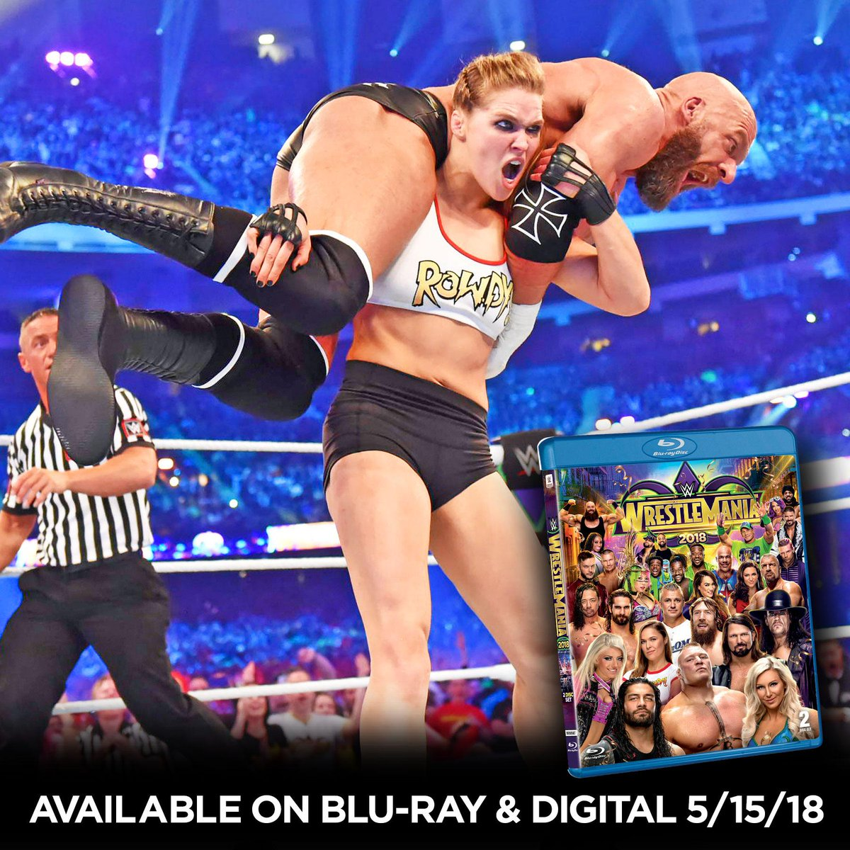 The #BaddestWomanOnThePlanet and the #BaddestWrestleManiaDebutOnThePlanet. #WrestleMania 34 is available now on Blu-ray at @BestBuy! @RondaRousey