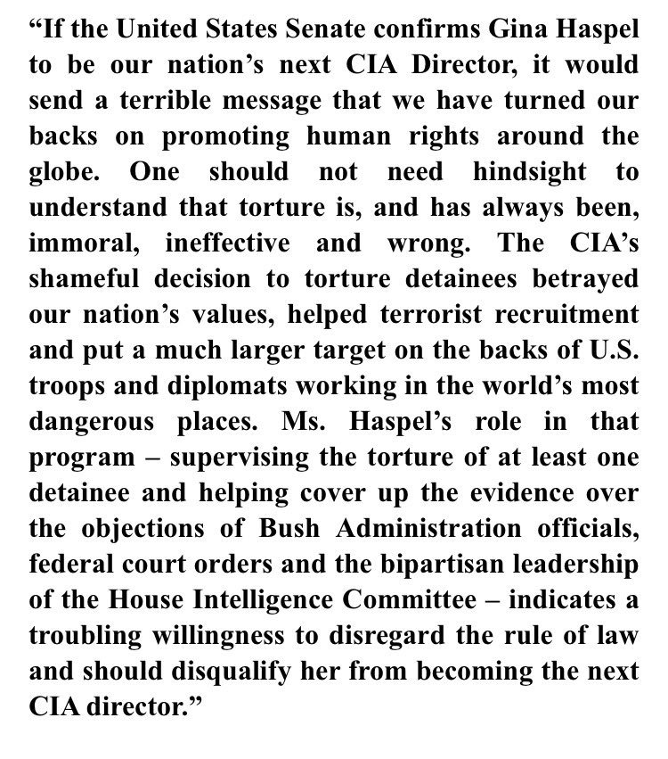 Combat veteran @SenDuckworth statement against Gina Haspel for CIA director: https://t.co/KcYJeiRwli