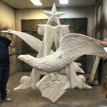 This awesome project was modelled by John Hennen of @LegacyCNC for his customer to produce for Budweiser! We are all in awe of this amazing piece of art. 😍🦅