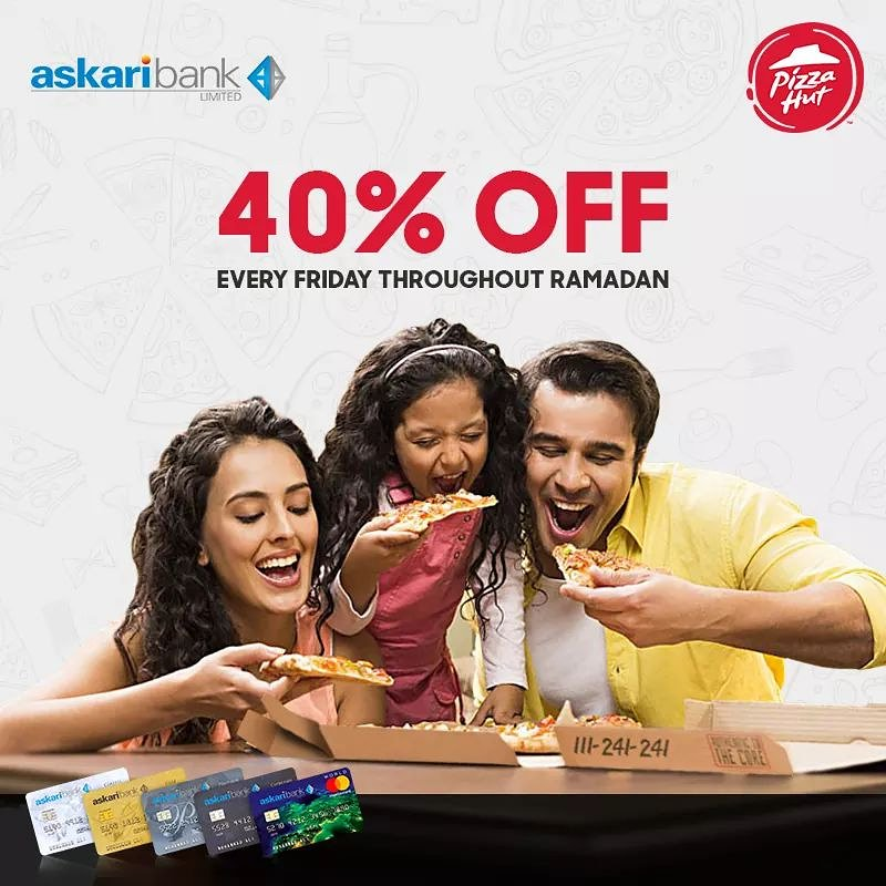 641d74696f62 Fridays can t get any better than this! Askari Bank credit card holders can  avail a 40% discount on entire standard menu. Click   http   www.pizzahut.com.pk ...