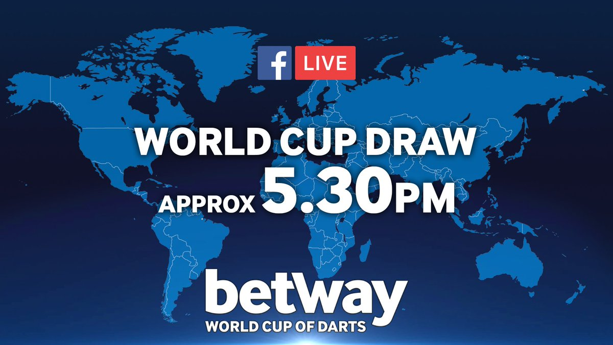 DRAW! The @Betway World Cup of Darts draw will be coming up very shortly on Facebook and Twitter, live!
