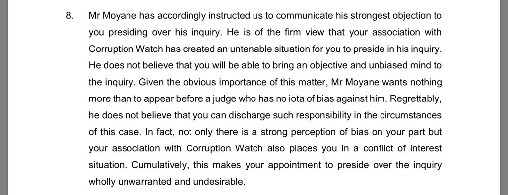 Tom Moyane's lawyer letter to fmr Concourt Justice Kate O'Regan, in which he takes issue with her position as a Corruption Watch board member. '..to put it bluntly, given the obvious and palpable perception of bias and conflict of interest on your part...'