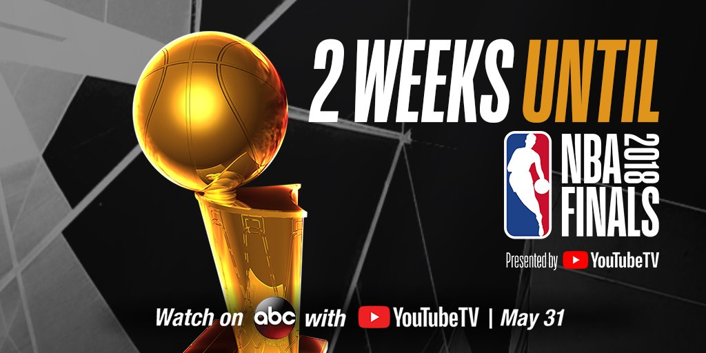 We're TWO WEEKS out from the 2018 #NBAFinals presented by @YouTubeTV! 🏆 Game 1: 9pm/et May 31 Watch #NBAonABC with YouTubeTV on.nba.com/2L41Ooi