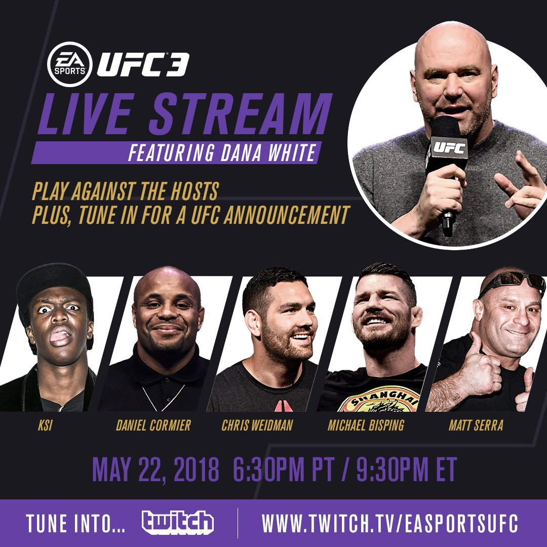 I'll be LIVE on @Twitch on Tuesday ready to KICK YOUR ASS at @EASPORTSUFC!! Learn more at x.ea.com/46496