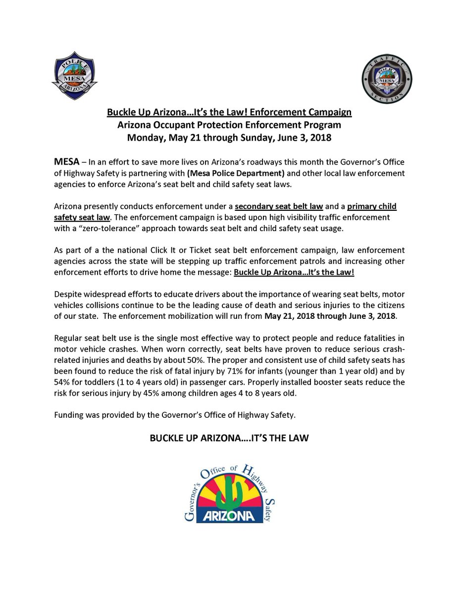 Mesa Police Dept On Twitter Buckle Up AZ Its The Law