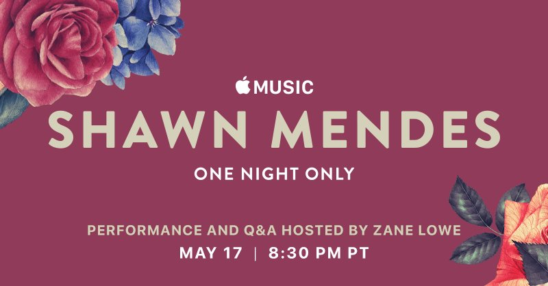 Today's the day! Watch the #ShawnOneNightOnly concert at 830PM PT on Apple Music or YouTube. @ShawnMendes