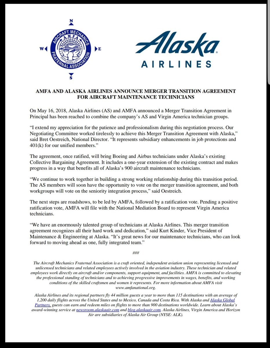 Amfa National On Twitter Amfa And Alaska Airlines Announce Merger