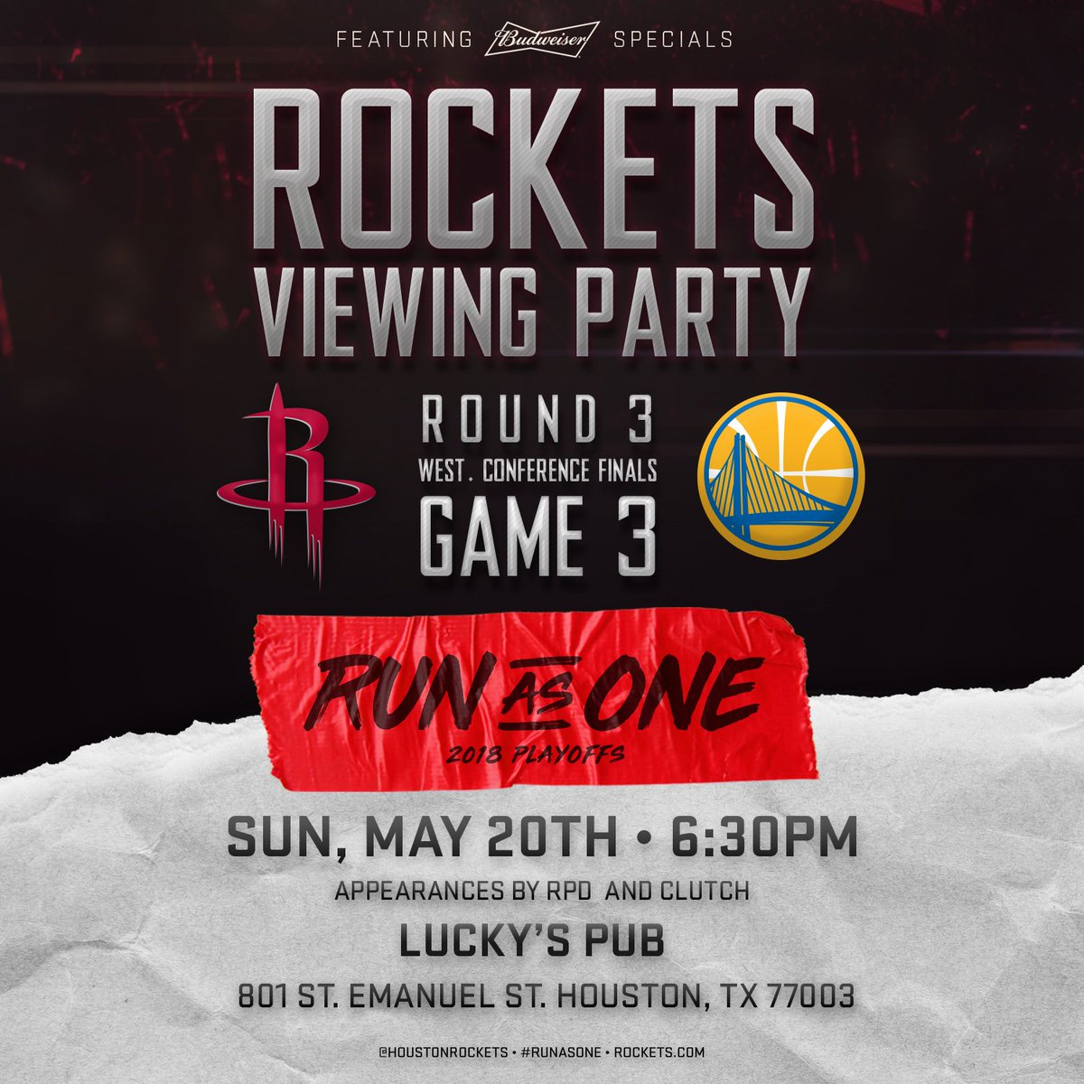 Join us at our viewing party for Game 3 on Sunday night, featuring @budweiserusa specials, a 30 foot screen, appearances by @OfficialRPD, and more!  For details on locations please visit: Rockets.com/Viewing-Party  #RunAsOne 🚀