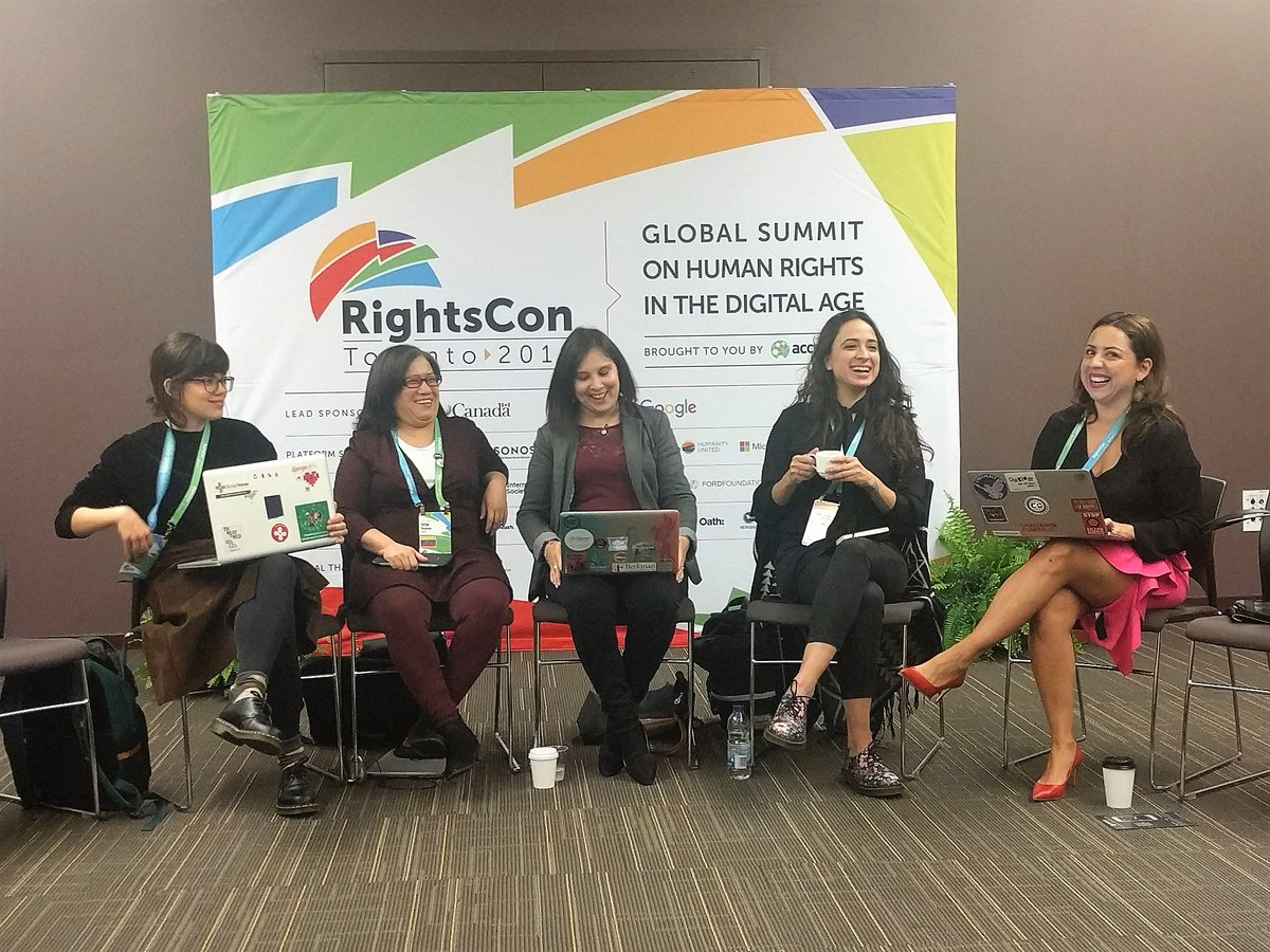 FAVE #RightsCon panel on LatAm disinfo (all women too )! Main takeaway: stop imposing Western fake news narrative that erases historical context &amp; local narratives of disinfo, &amp; ignores culpability of establishment media @taisasganzerla @NSC @MPaz_online @giselilla @avilarenata<br>http://pic.twitter.com/DekwVyrdZj