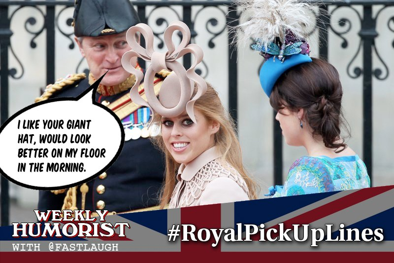We got into the #RoyalWedding mood and asked YOU for your best  #RoyalPickUpLines and you def got some digits! Thanks for playing! New games every Wed at 11 am EST!  http://www. weeklyhumorist.com/royalpickuplin es/ &nbsp; …  @CricketArt67 @Johnsense38 @tunaofthesky #jokes #funny #pickuplines<br>http://pic.twitter.com/pRy2td17uM