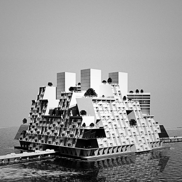 4/5 Of course #FloatingCities are not new propositions. 1 of my fave projects: Buckminster Fuller&#39;s Triton City 1967, based on a deconstructed tetrahedron- initially commissioned for #Tokyo bay by the wealthy Matsutaro Shoriki #seasteading #architecture #urbantech #smartcities<br>http://pic.twitter.com/UBfGmVMIpK