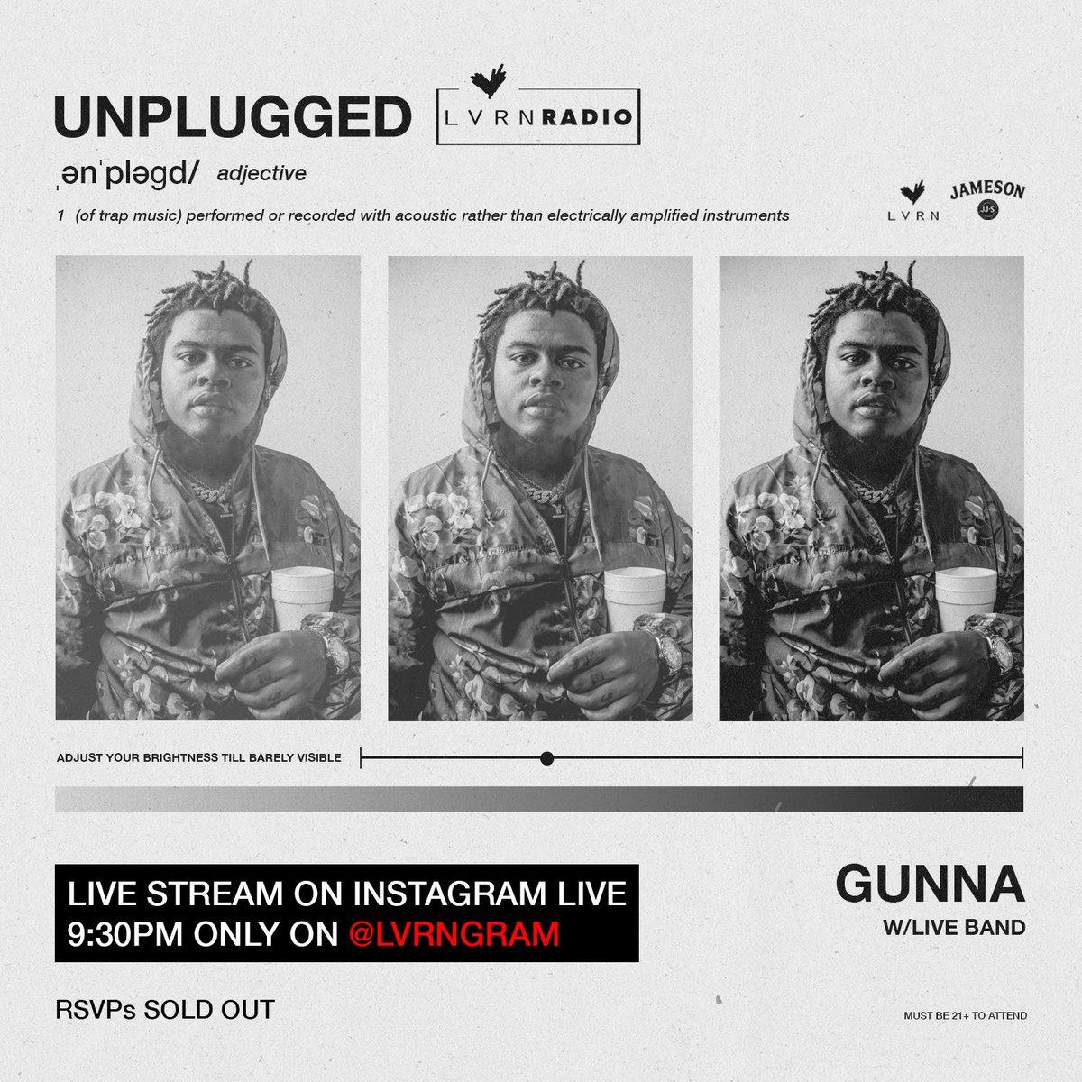 We going live with @1GunnaGunna 9:30 est 🔥📽 on LVRN Instagram