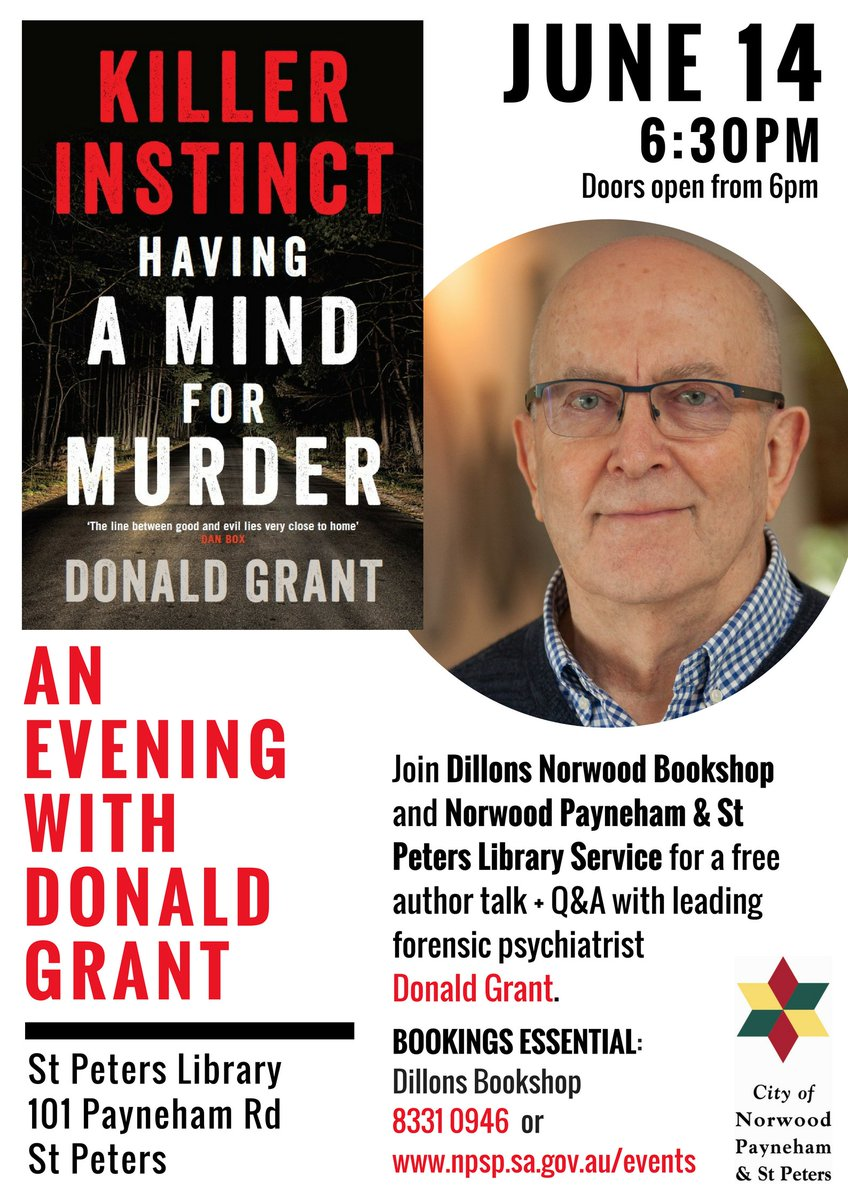Dillons Norwood Bookshop On Twitter Join Us For A Free And Fascinating Author Talk With Leading Forensic Psychiatrist Donald Grant