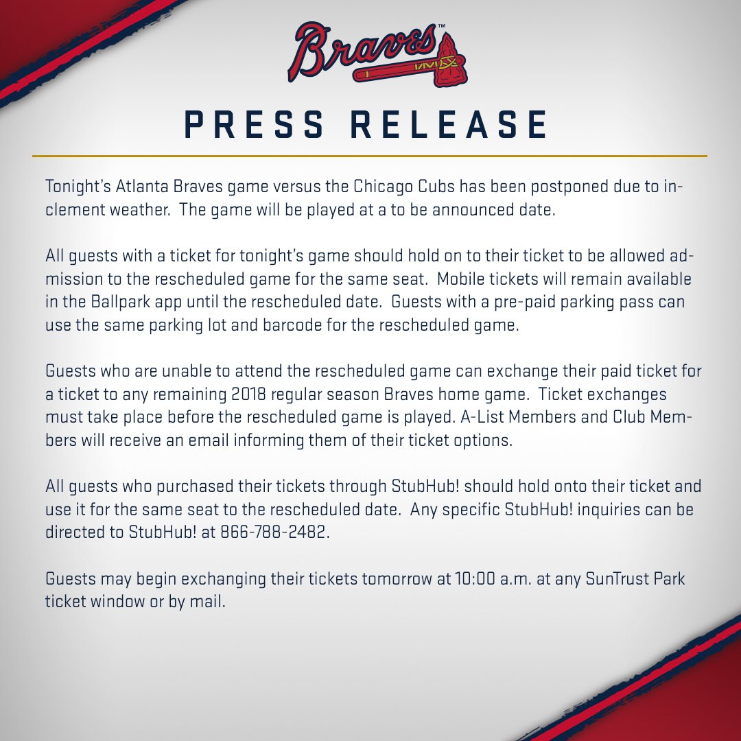 atlanta braves on twitter tonight s game has been rescheduled for