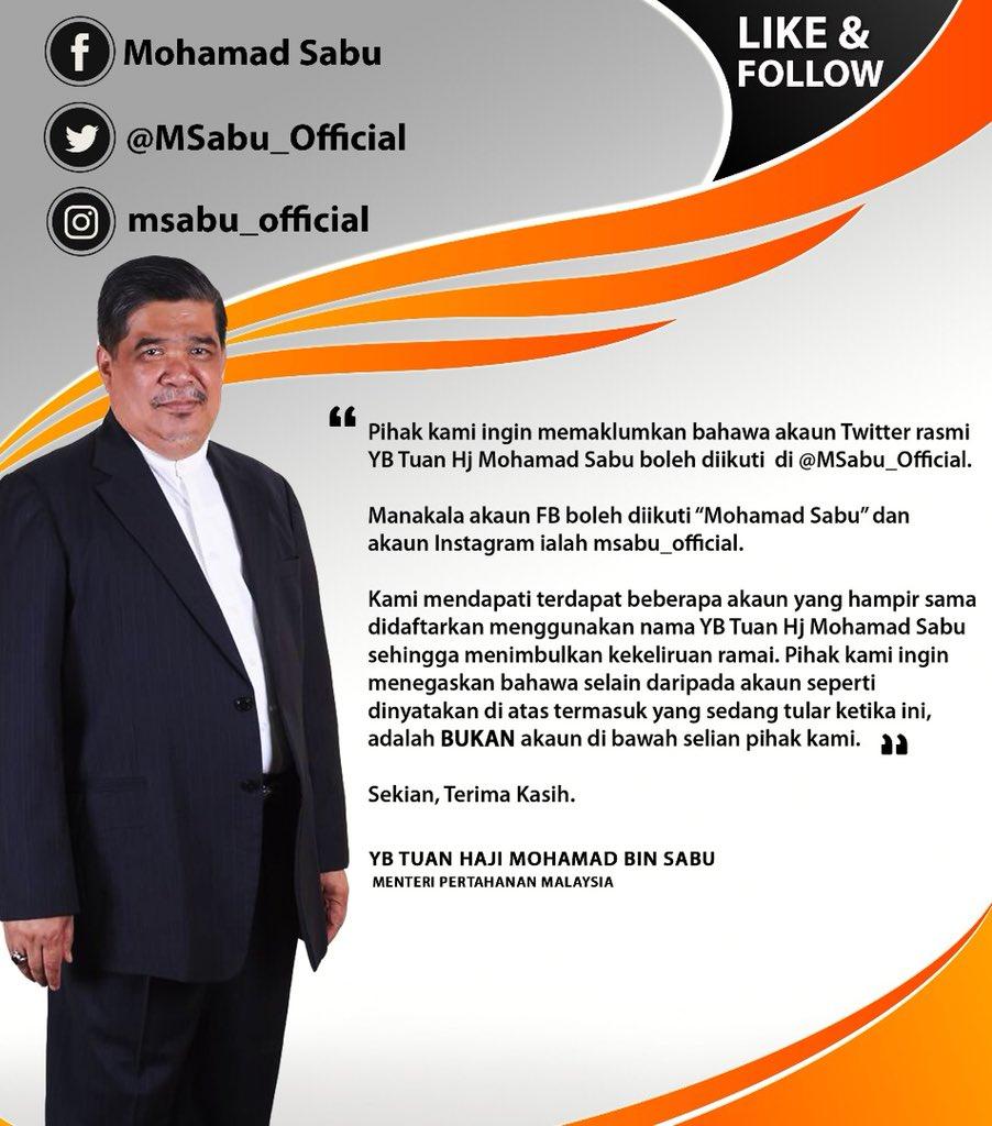 Saya ingin memaklumkan, ini adalah satu2nya akaun rasmi twitter sy  @MSabu_Official. Selain drpd akaun yg dinyatakan BUKAN akaun sy. #FakeAccount Pls RT https://t.co/RzvFOS8PPz