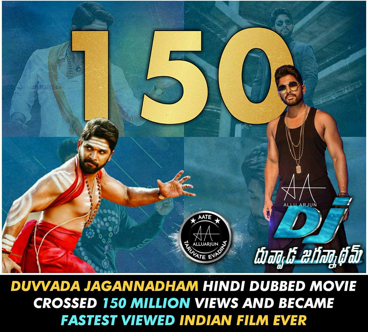 Another day and another record for #StylishStar #AlluArjun   It&#39;s 150Million Views For  #DJHindiDubbed With 565K Likes Fastest For Any South Indian Movie  He has broken his own record of #Saarinodu     #DJ #DuvvadaJagannadham  Watch it here :   https:// youtu.be/zMxIW7uwDGg  &nbsp;  <br>http://pic.twitter.com/Pw0X6L7UMY
