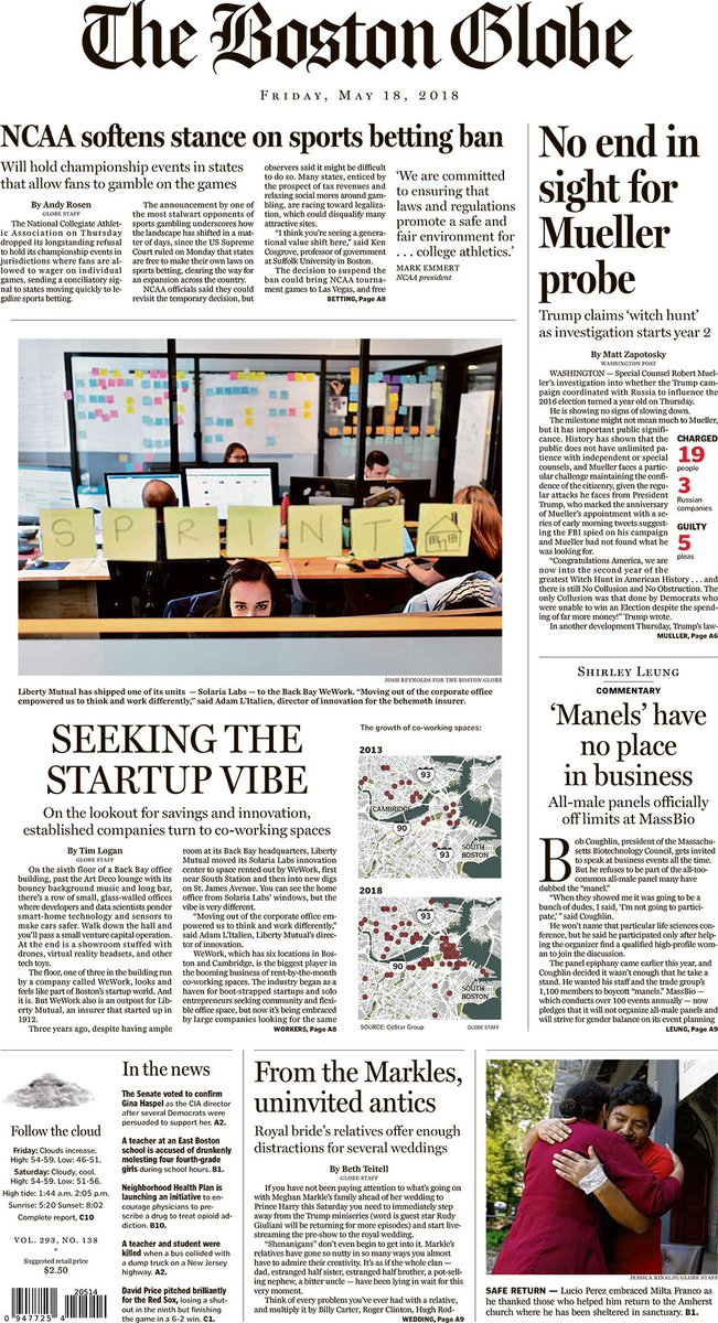 Today's Paper: NCAA softens stance on sports betting ban, no end in sight  for Mueller probe, royal bride's relatives offer enough distractions for  several ...