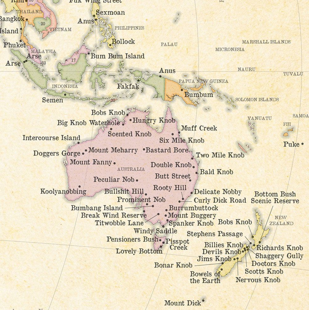 Australia Map Rude Names.Simon Kuestenmacher On Twitter Map Shows That Nobody Does