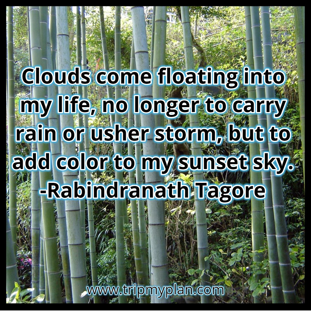 Clouds come floating into my life, no longer to carry rain or usher storm, but to add color to my sunset sky. -Rabindranath Tagore . . . #TripMyPlan #quote #dailyquote #bestquote #travelwebsite #fridayfeeling #wisdom #travel #tour #trip #ttot #friday #quotes #dailyquotes #mumbai<br>http://pic.twitter.com/iJI5QnpWni