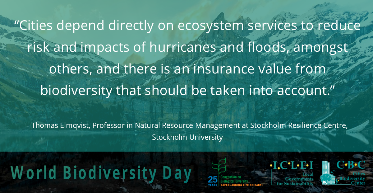 """""""There is an insurance value from #biodiversity that should be taken into account.""""  - Thomas Elmqvist (@sthlmresilience) discussing how #cities depend on #ecosystems for disaster risk reduction #drr  More info on the value of #nature https://t.co/lBRpTYoyVl  #IntlBiodiversityDay"""