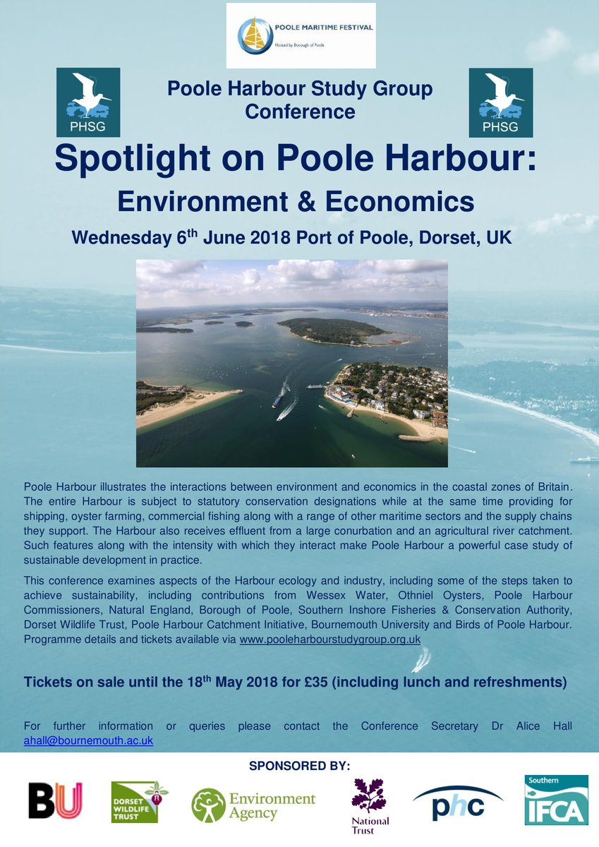 Today is the LAST day to book your tickets for the @PHSG2018 Conference on #PooleHarbour #Environment &amp; #Economics which is part of the Poole Maritime Festival @PooleMaritime Book tickets now to avoid missing out!  https://www. eventbrite.co.uk/e/spotlight-on -poole-harbour-environment-economics-tickets-44152779151 &nbsp; … <br>http://pic.twitter.com/KnSy2FPfOY