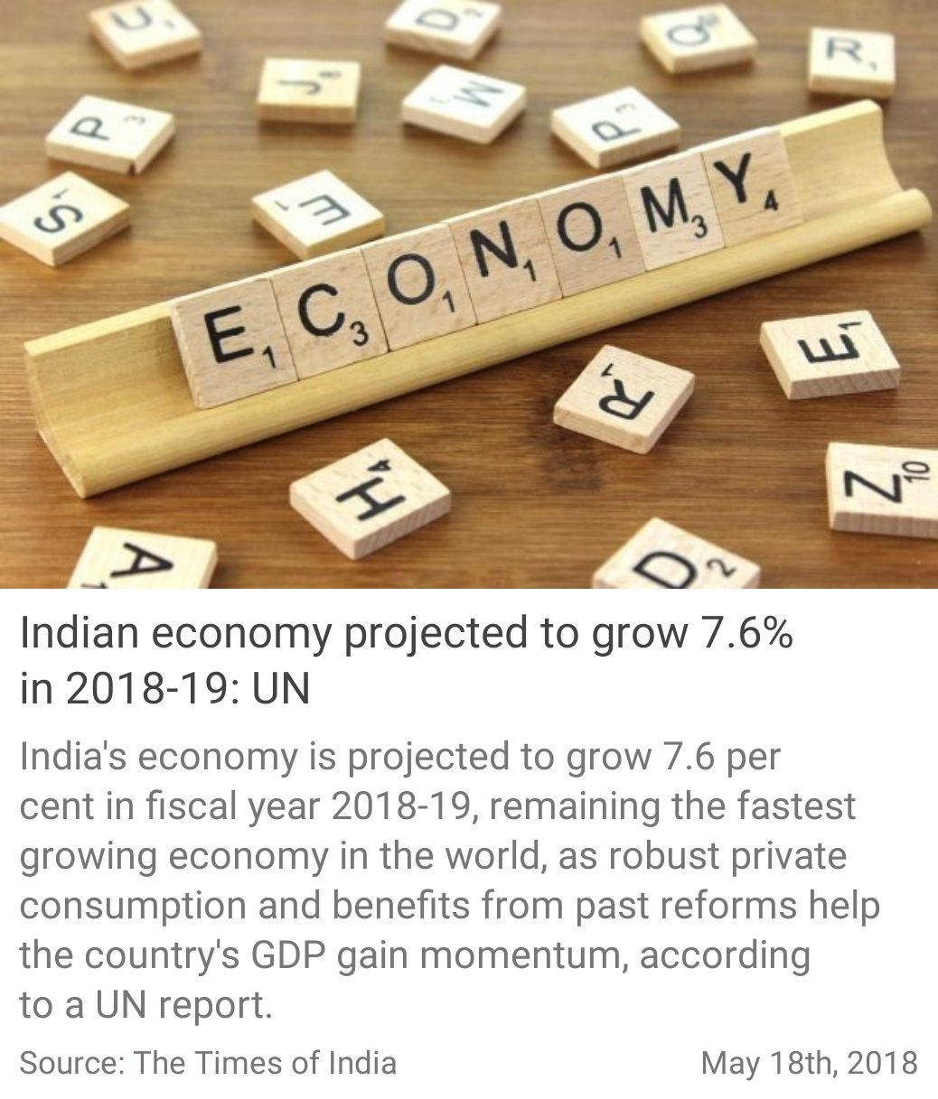 Indian economy projected to grow 7.6% in 2018-19: UN https://t.co/4ybGVSUv7k #IamNewIndia via NMApp https://t.co/Rsh4KRiYyB