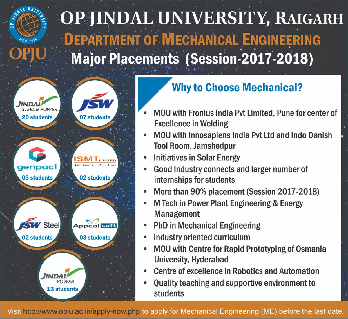 Admissions open for Mechanical Engineering courses. Apply now &amp; grab a chance to be a part of this World-Class University.  Last date for application is just round the corner, hurry &amp; register now -  http://www. opju.ac.in/apply-now.php  &nbsp;     #OPJU #Raigarh #Mechanical #Engineering #Admission<br>http://pic.twitter.com/kOKK6CgQFh