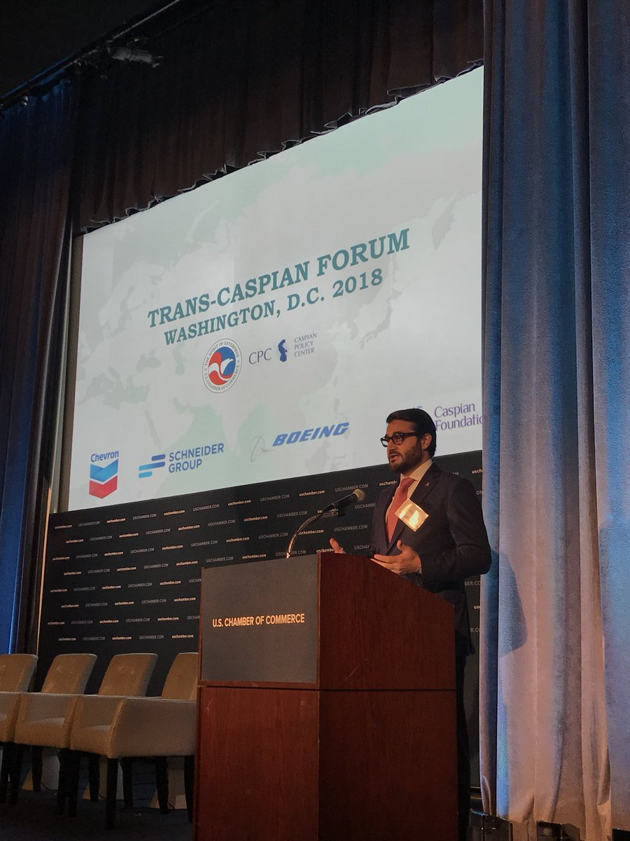 Happening Now: Ambassador @hmohib gives opening remarks in the #TransCaspian2018 at @CommerceGov. He shares #Afghanistan's continuing evolution.