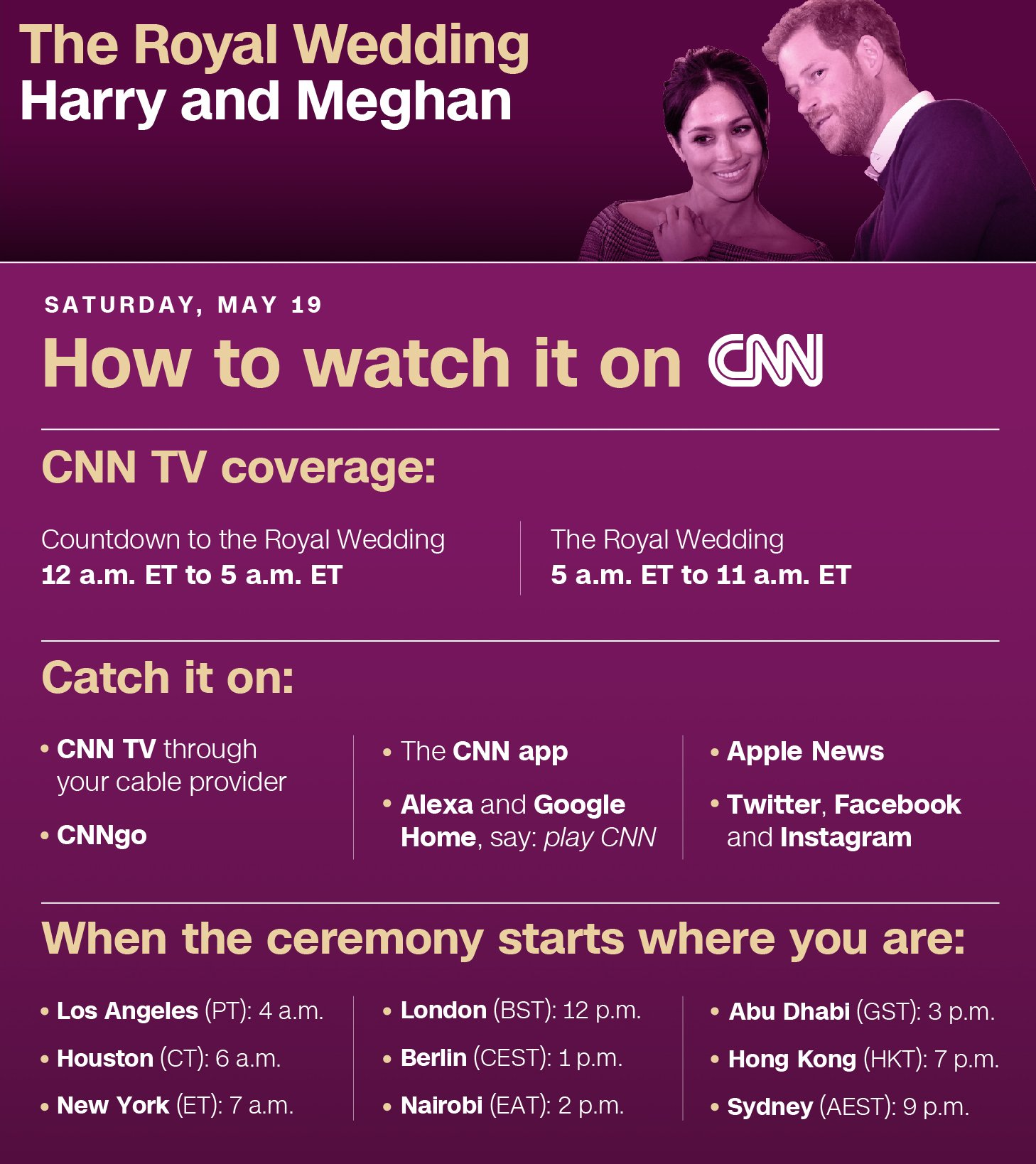How to watch the #royalwedding https://t.co/7Oh6hqLHOc https://t.co/kSe8WhgXS3