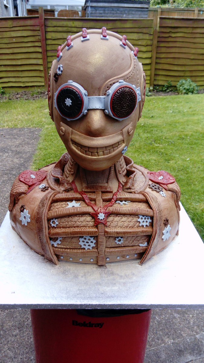 #Steampunk Awesome of the Day: #Frankenstein-like Bust with Goggles #Cake made by @ktnicecakes for #SteampunkFiley, #UK via @TES128 #SamaCake 🎂
