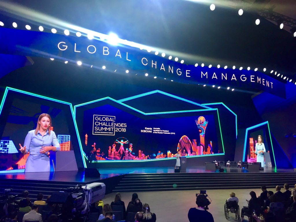 .@xenia_sobchak, journalist and candidate for President of the Russian Federation (2018), at #AEF2018: Participation in unjust elections in unfree country is only necessary to voice an alternative opinion #AstanaEconomicForum #GlobalChallengesSummit<br>http://pic.twitter.com/6ne3Bt0UUK