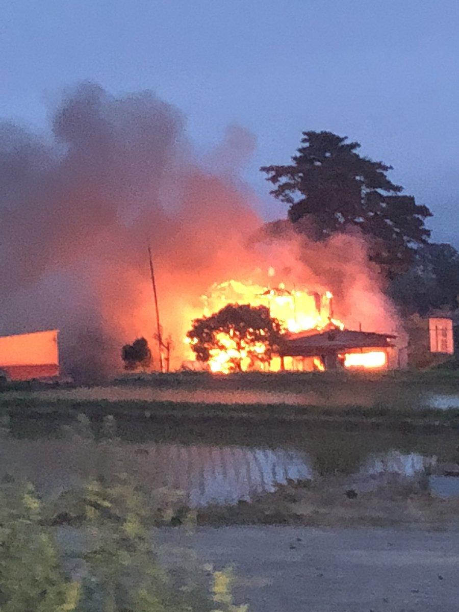 郡山市富久山町の八山田で発生中の火事現場の写真画像