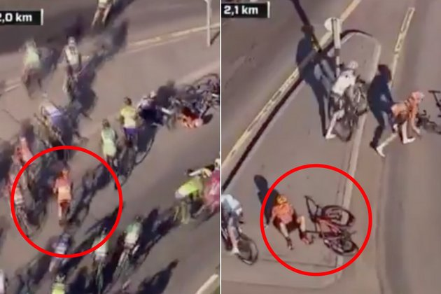 test Twitter Media - Cycling or football? Rider fakes crash and sits down in road to avoid race finale (video) | https://t.co/xHww6RyuEo https://t.co/7GQcIVW8TJ