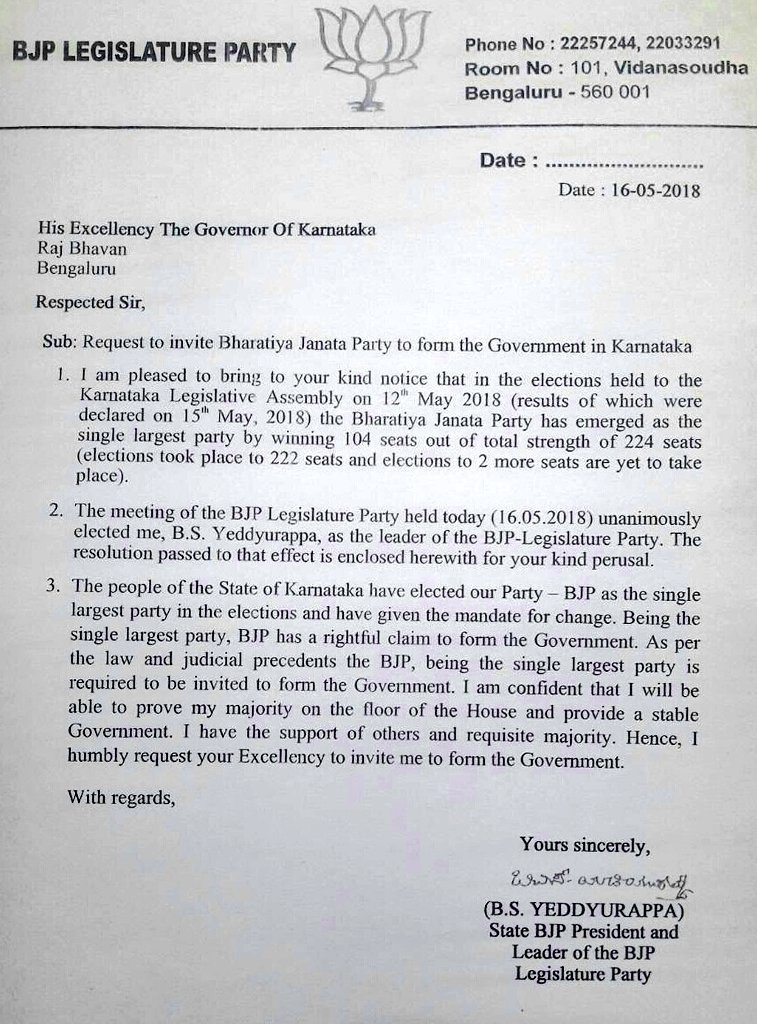 Yeddyurappa's letter to Governor Vala staking claim to form the government in Karnataka.