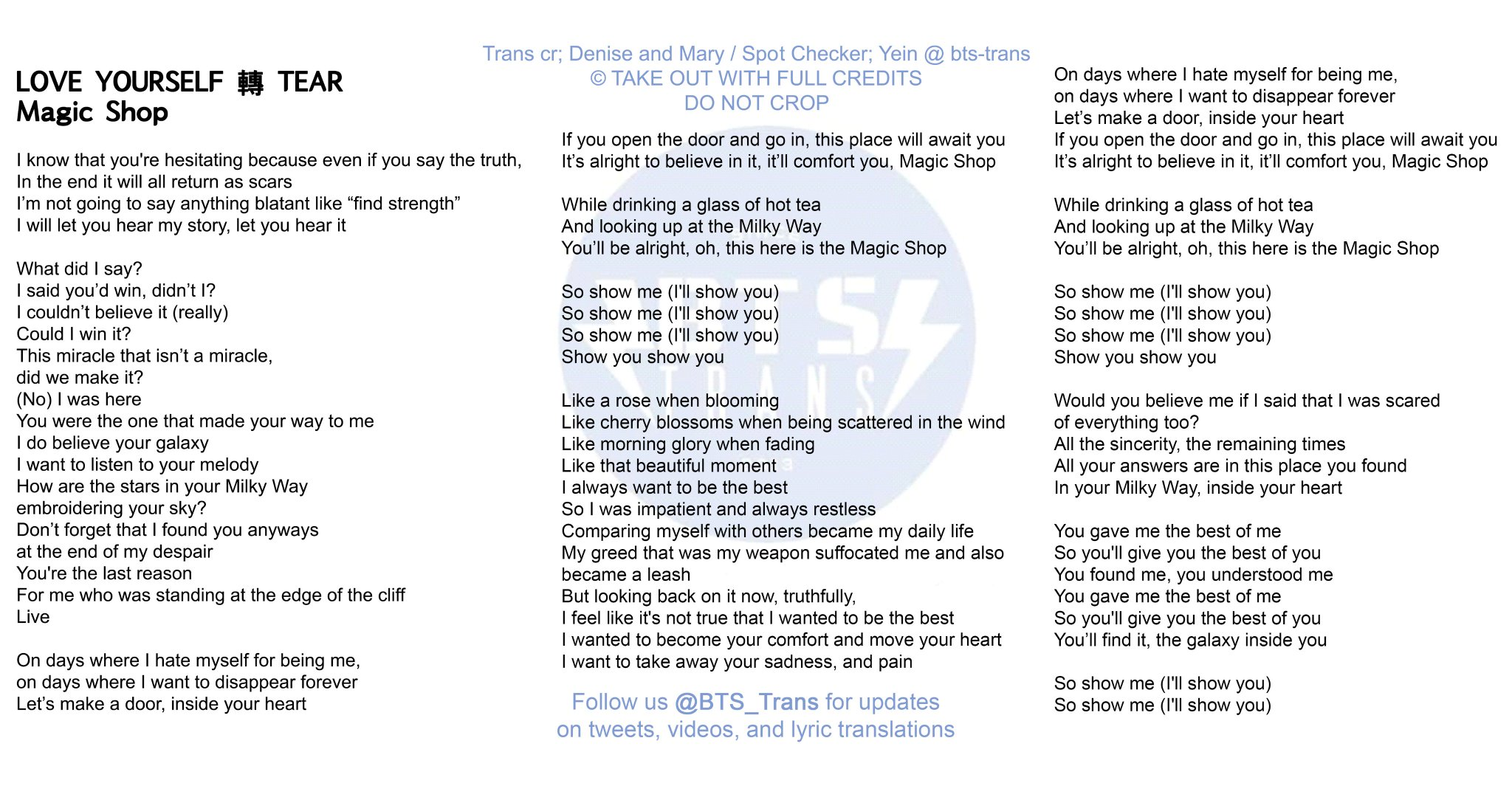 Bangtan Translations On Twitter Kor Eng Lyrics Magic Shop By