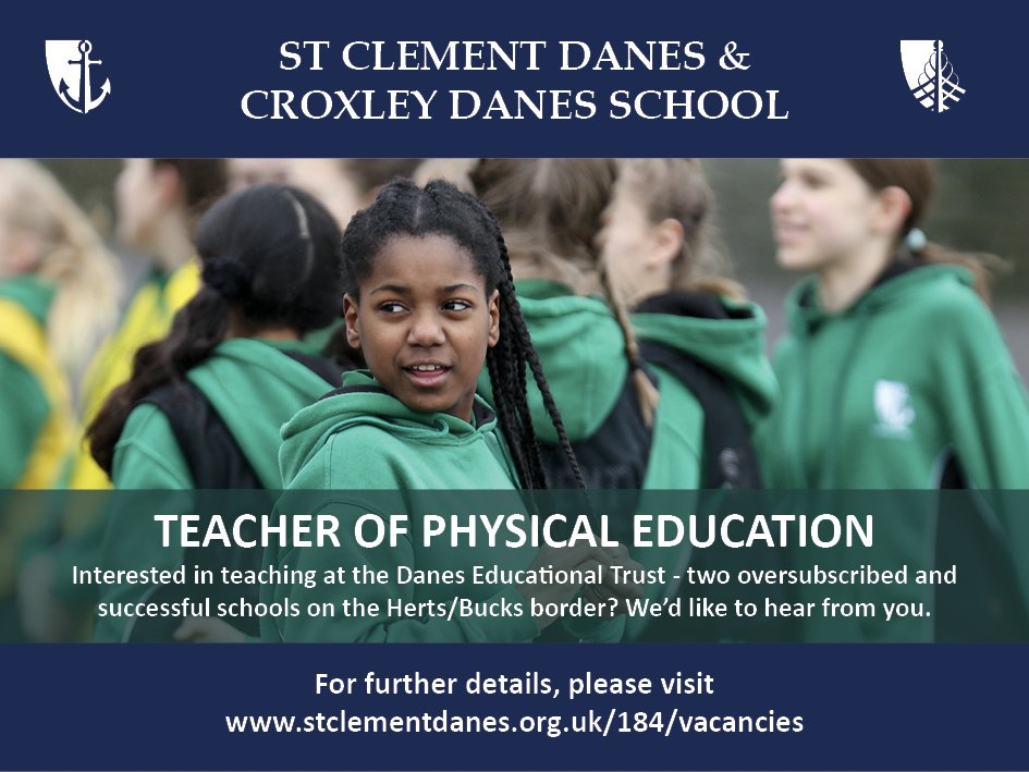 #teachingvacancyuk  PE Full time SouthEast Apply now: https://t.co/XH7jOLWKoV  By: 21 May 2018 For: 1 Sept 2018 Come and join our team at an expanding Trust of two oversubscribed and successful schools on the Herts/Bucks border. https://t.co/daFofc7fJN