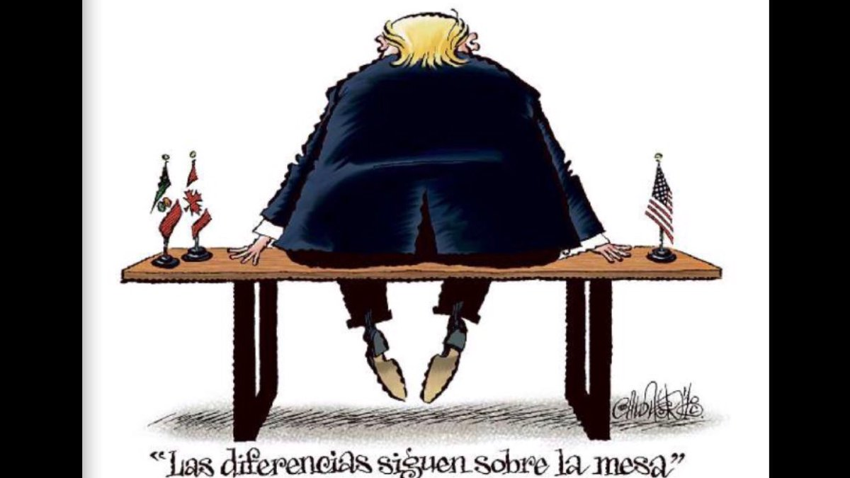 Mexican cartoonist @CartonCalderon on the still unresolved issue on the #NAFTA renegotiation table. Via @Reforma <br>http://pic.twitter.com/NZFcsVLdPV