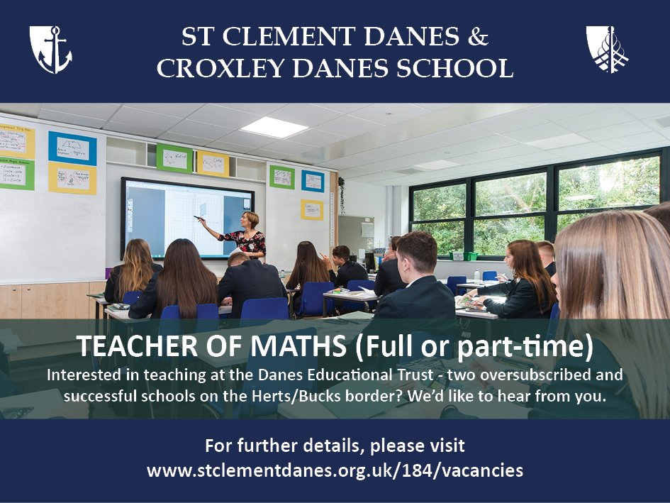 #teachingvacancyuk  Maths Full time or Part time SouthEast Apply now: https://t.co/Xkc1VYAwz8 By: 22 May 2018 For: 1 Sept 2018 Come and join our team at an expanding Trust of two oversubscribed and successful schools on the Herts/Bucks border. https://t.co/Qgh5hneRc6