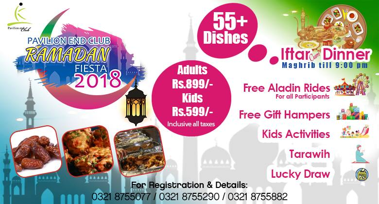 "Dear Fellows, the wait is over, now you can avail ""Ramadan Fiesta""  Iftar Cum Buffet Dinner with 55+ Scrumptious dishes at the most affordable rates in town. Special discount for over 100+ persons booking. So do not wait contact 0321-8755077 /0321-8755290/0321-8755882 for details https://t.co/oL26lS4jFl"