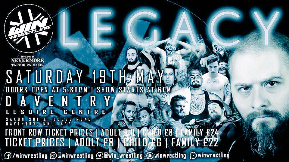 LEGACY IS ALMOST UPON US!  Go to  http:// winwrestling.co.uk  &nbsp;   to book your ticket.  A new champion will me crowned, but will he be able to seal HIS legacy.   #wrestling #indywrestling #prowrestling #WrestlingIsForEveryone #daventry #ukwrestling #northampton<br>http://pic.twitter.com/fOVHsMyeWF