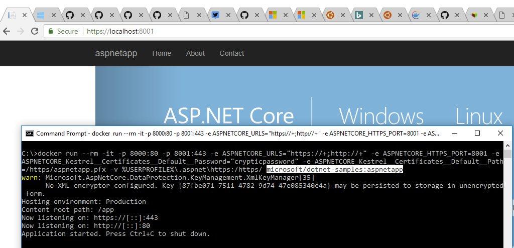 Try running @aspnet in @docker with HTTPS ...   https:// github.com/dotnet/dotnet- docker/blob/master/samples/aspnetapp/aspnetcore-docker-https.md &nbsp; …  #secure <br>http://pic.twitter.com/zXemFS1Snm