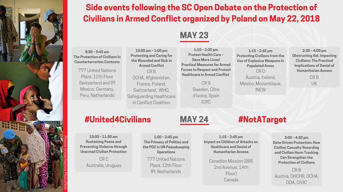 Ahead of next week's UNSC Open Debate on Protection of Civilians, here is the brief summary of the events to come on the margins of the debate. Shout-out to all the organizers for their efforts to make discussions comprehensive & meaningful #United4civilians #NotAtarget #PLUNSC