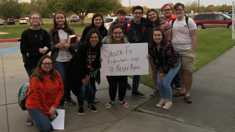Not even a month ago, students at Santa Fe High School walked out of their classrooms to protest school shootings. A sign read, Santa Fe High School SAYS #NeverAgain  Today, they were the victims of one. cnn.it/2wTaGu0