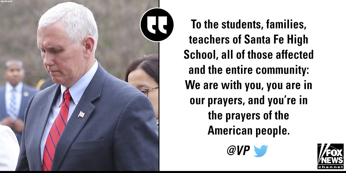 .@VP offered his prayers in response to the Santa Fe High School shooting. https://t.co/kiDgZSp1MN https://t.co/zyN1zx2DIK