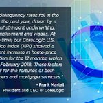 A new CoreLogic report shows that, nationally, 4.8 percent of #mortgages were in some stage of delinquency in February 2018, representing a 0.2 percentage point decline in the overall delinquency rate, compared with 5 percent in February 2017. Read more: https://t.co/xEQjfPsQ0r