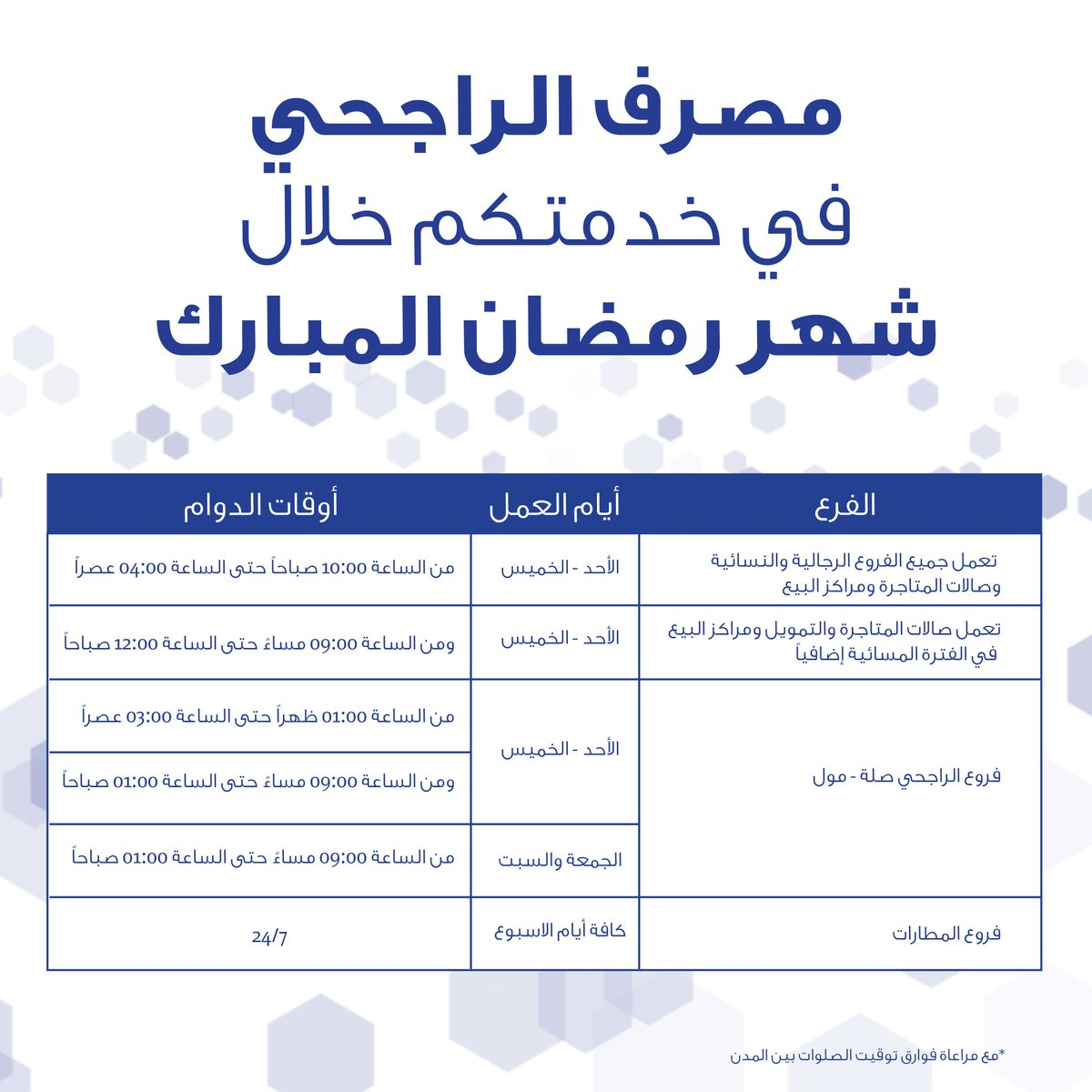 مصرف الراجحي Pa Twitter اوقات عمل الفروع خلال شهر رمضان لمزيد من التفاصيل Https T Co L1wmvdcodw