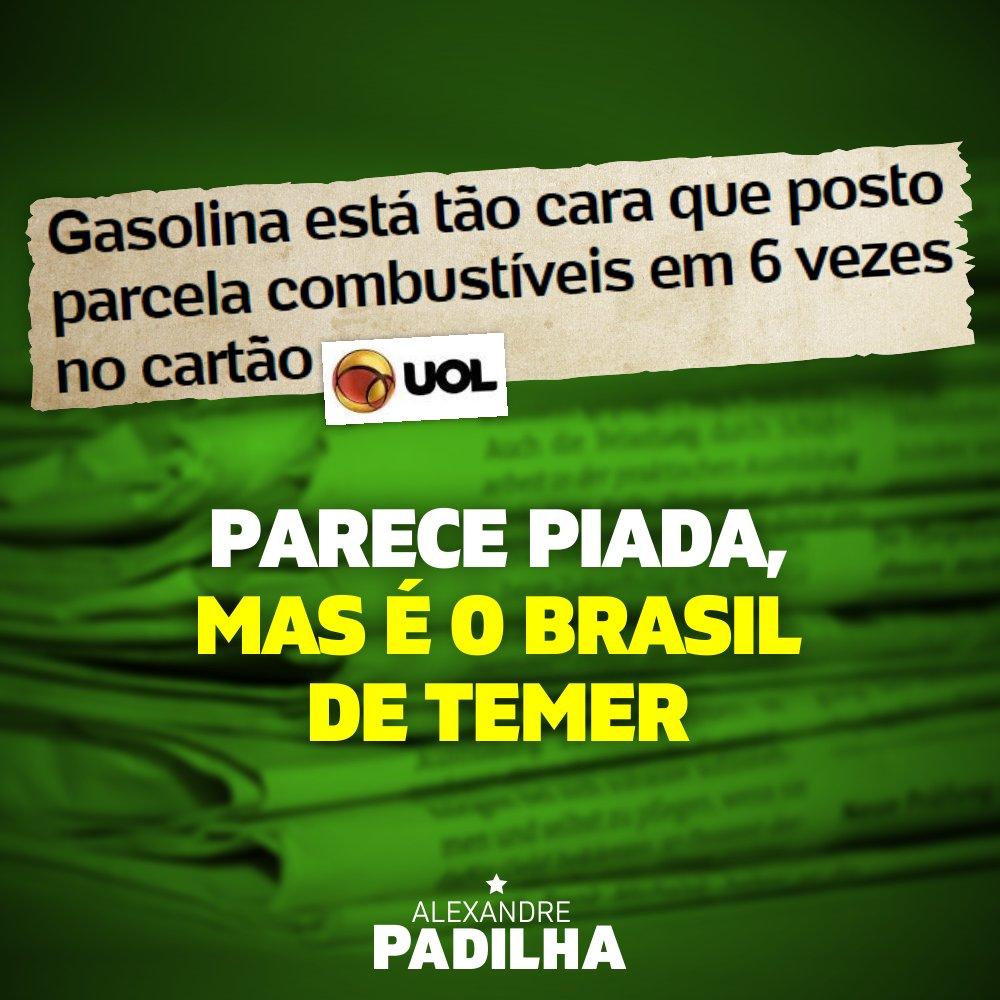Em alguns lugares do Brasil a gasolina já está custando R$ 5,00. Esse é, infelizmente, o Brasil governado por golpistas.